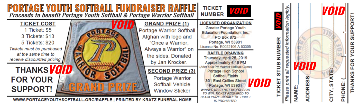 2018 Fundraiser Raffle Ticket